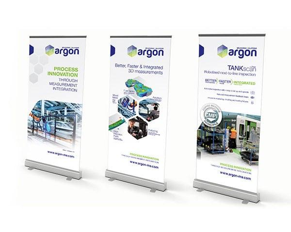 Argon beursstand rolliup displays